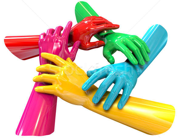 Hands Colorful Circle Holding Each Other Top Stock photo © albund