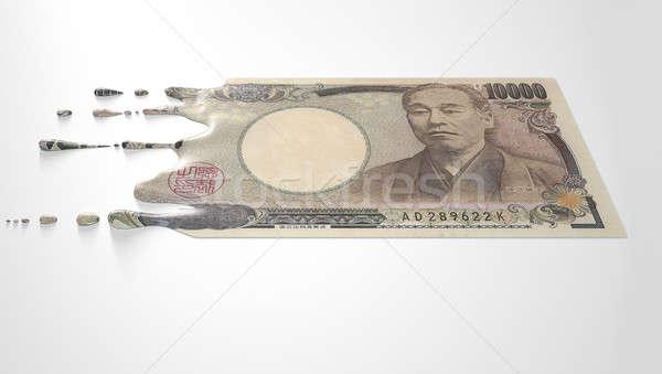 Japanese Yen Melting Dripping Banknote Stock photo © albund