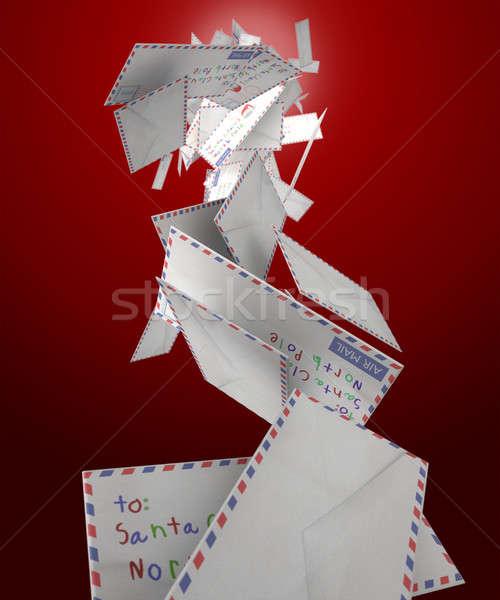 Vallen brieven collectie luchtpost kerstman Stockfoto © albund