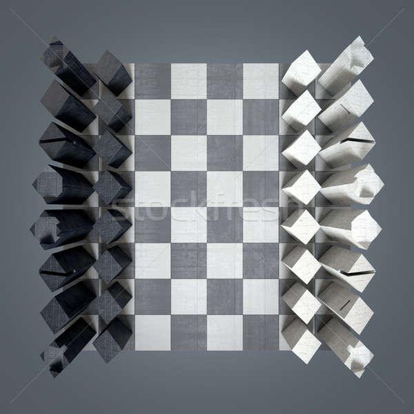 ストックフォト: 現代 · チェス · セット · 3dのレンダリング · ミニマリスト · 開始