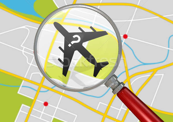 Missing Airplane And Magnifying Glass Stock photo © albund
