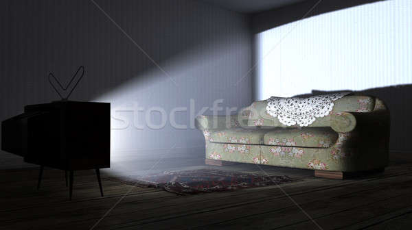 Illuminated Television And Lonely Old Couch Stock photo © albund