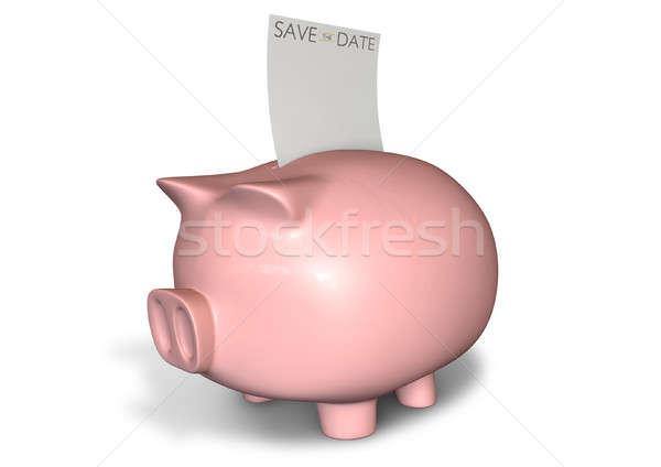 Piggy Bank Save The Date Note Stock photo © albund