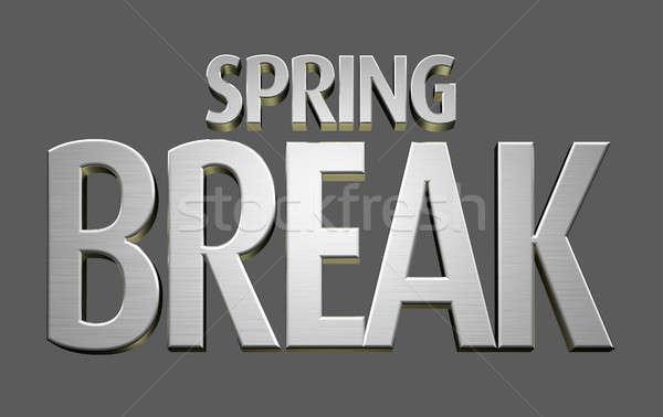Tavaszi szünet szöveg fém helyesírás ki kifejezés Stock fotó © albund