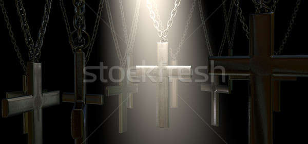 Hanging Crucifix And Spotlight Salvation Stock photo © albund