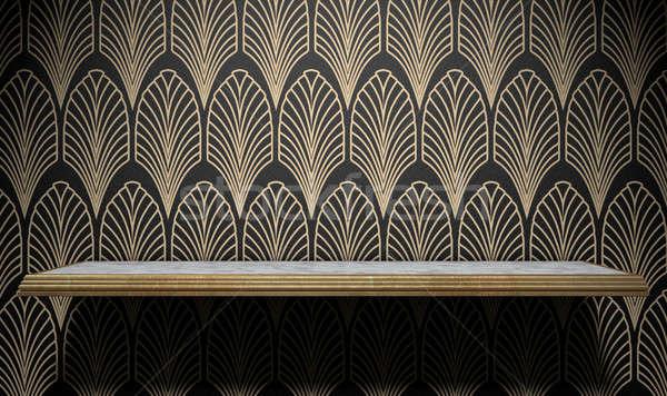 üres art deco polc fal márvány arany Stock fotó © albund