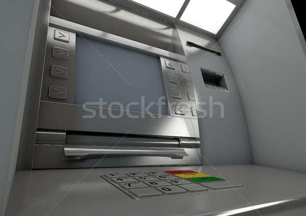 Atm façade vue générique argent Photo stock © albund