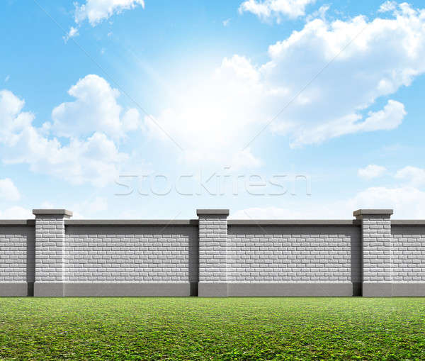 Brick Wall Grass And Blue Sky Stock photo © albund