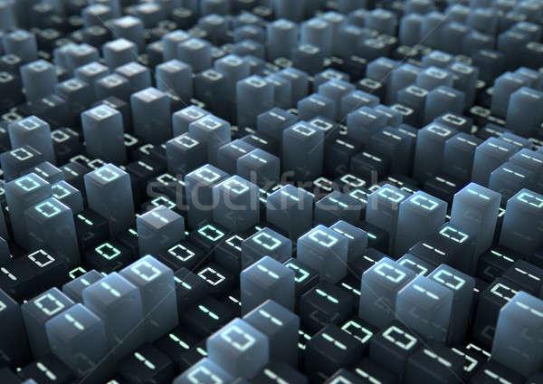Código binario 3d microscópico primer plano pequeño cubos Foto stock © albund