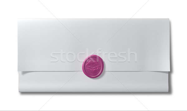 Paper Sealed With A Kiss Pink Wax Seal Stock photo © albund