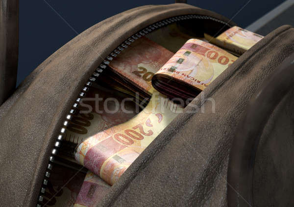 Illicit Cash In A Brown Duffel Bag Stock photo © albund