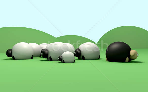 Cartoon Sheep against the flow Stock photo © albund