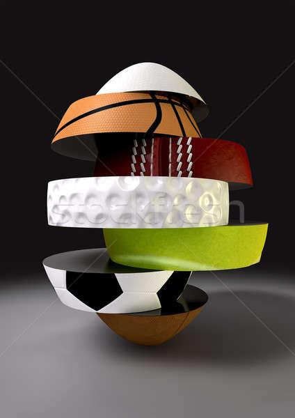 Segmented Fragmenting Sports Ball Stock photo © albund