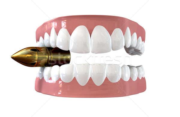 Bijten bullet paar vals tanden ingesteld Stockfoto © albund