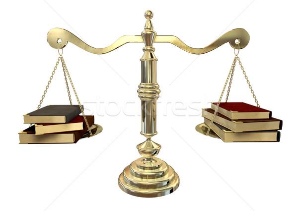 Egyensúlyoz könyvek arany igazság mérleg három Stock fotó © albund