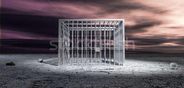 Börtöncella zárolt terméketlen tájkép alakú fém Stock fotó © albund