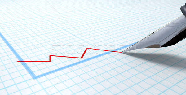 Fountain Pen Drawing Declining Graph Stock photo © albund
