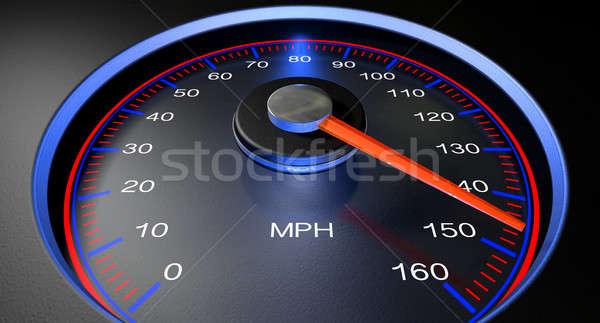 Velocímetro mph rápido regular rojo Foto stock © albund