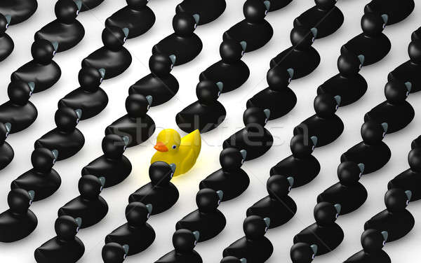 Rubber Duck Against The Flow Grid Stock photo © albund