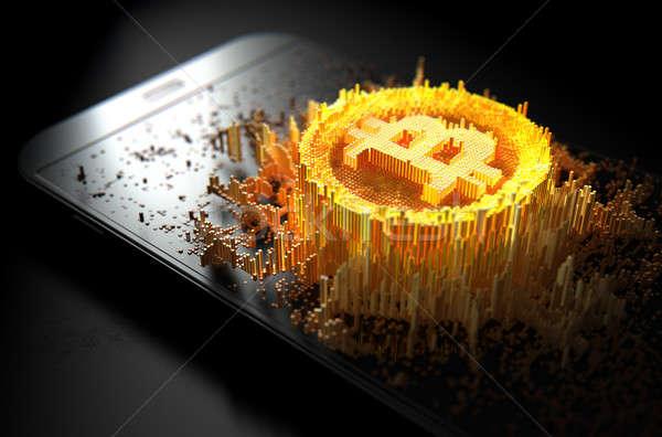 Bitcoin smartphone rendu 3d microscopique faible Photo stock © albund