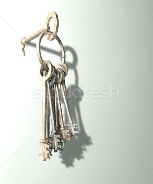 Keys Inserted Into White Wall Stock photo © albund