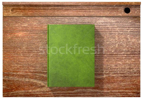 Vintage School Desk Top With Closed Blank Book Stock photo © albund