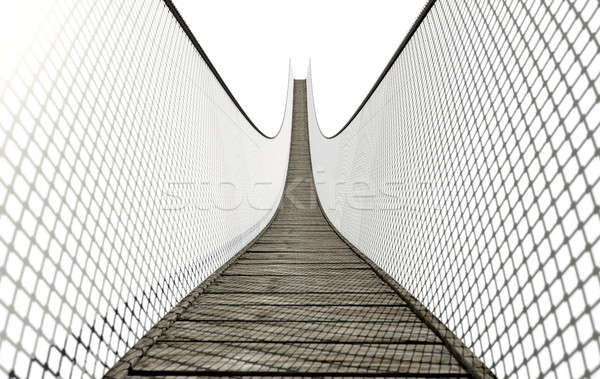 Rope Bridge On White Stock photo © albund