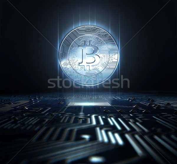 Cryptocurrency Hologram And Circuit Board Stock photo © albund