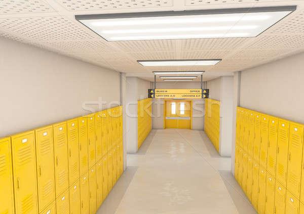 Yellow School Lockers Light Stock photo © albund