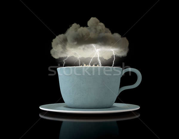 Fırtına çay fincanı siyah bulut fincan çay Stok fotoğraf © albund