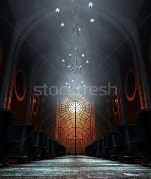 Stok fotoğraf: Vitray · pencere · kilise · karanlık · iç · rays