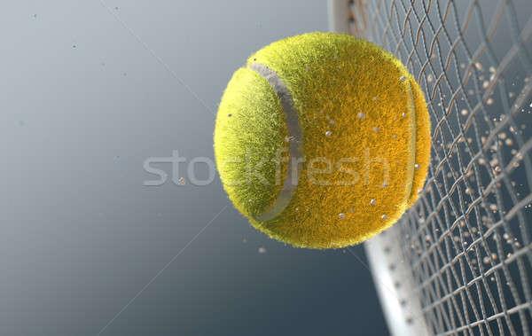 Tennis Ball Striking Racqet In Slow Motion Stock photo © albund