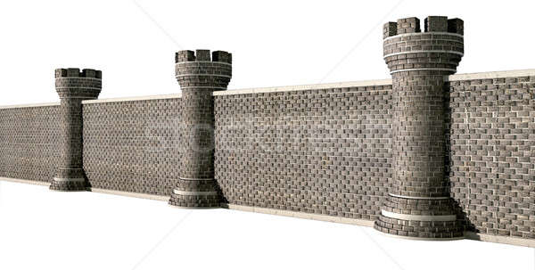 Gothic Castle Wall Perspective Stock photo © albund
