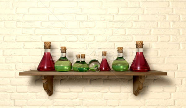 Potion Bottles On A Shelf Stock photo © albund
