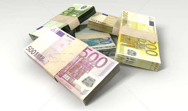 Euro Notes Collection Pile Close Stock photo © albund