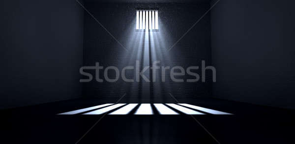 Luz do sol brilhante prisão célula janela velho Foto stock © albund