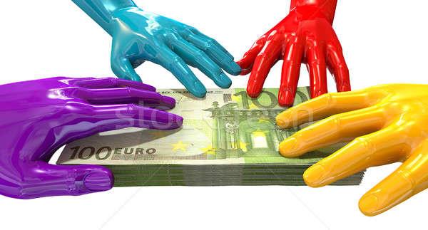 Hands Colorful Grabbing At Euro Notes Stock photo © albund