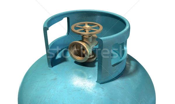 ストックフォト: ガス · シリンダー · バルブ · クローズアップ · クリーン · 青