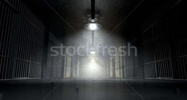 Börtön folyosó kép kísérteties börtön éjszaka Stock fotó © albund