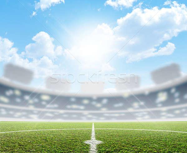 スタジアム サッカー ピッチ 緑の草 青空 ストックフォト © albund