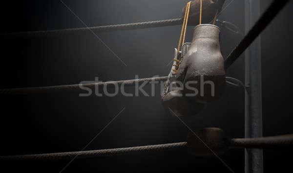 Vintage бокса углу вверх перчатки Сток-фото © albund
