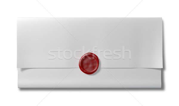 Folded White Paper With Red Wax Seal Top Stock photo © albund