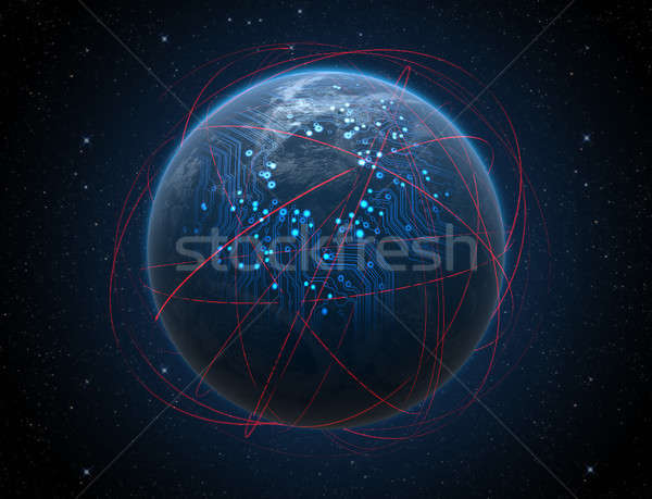 Stock photo: Planet With Illuminated Network And Light Trails