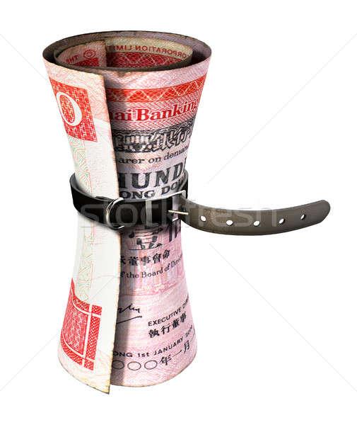 Tightening Belt Around Money Stock photo © albund
