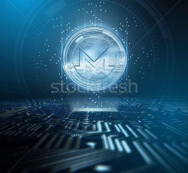 Cryptocurrency Monero And Circuit Board Stock photo © albund