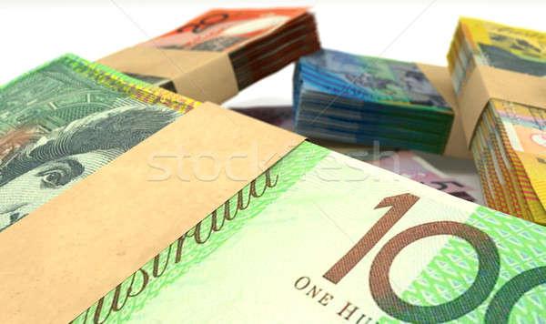 Australian Dollar Notes Bundles Stack Extreme Closeup Stock photo © albund