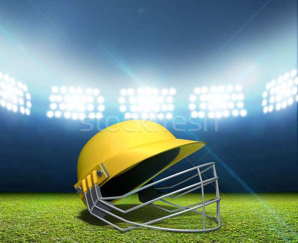 Cricket Stadium And Helmet Stock photo © albund
