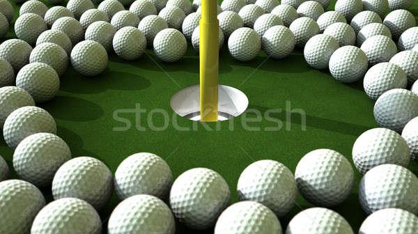 мяч для гольфа дыра нападение массив зеленый Сток-фото © albund