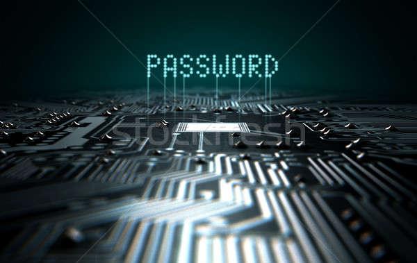 Circuit Board Projecting Password Stock photo © albund