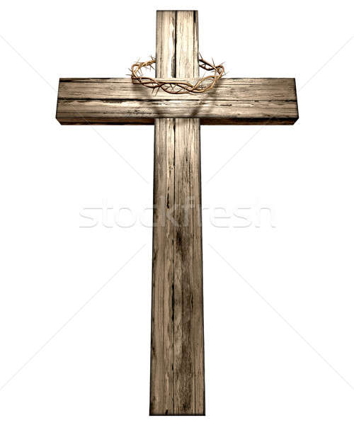 Stock photo: Crucifix With A Crown Of Thorns